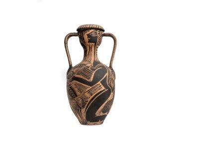 Referencia: C-V08 - Titulo: Minotauro y mujer - Año: 1975 - Dimensiones: 55 x 29 cms - Técnica: Raspado en Negro