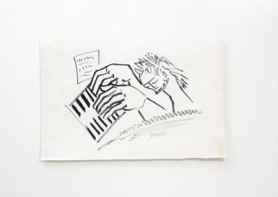 Referencia: D-SC - Titulo: Pianista - Año: 2002 - Dimensiones: 21 X 29,5 cms. - Técnica: Rotulador negro sobre papel