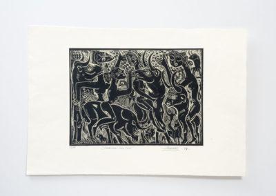 Referencia: G-13 - Titulo: Amazonas sobre Toros - Año: 1989 - Dimensiones: 42 X 60 cms. - Técnica: Aguafuerte