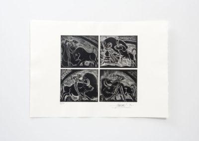 Referencia: G-34-1C - Titulo: Capotazos (De la serie Carpeta Toros I ) - Año: 1990 - Dimensiones: 35 X 50 cms. - Técnica: Aguafuerte – 4 planchas