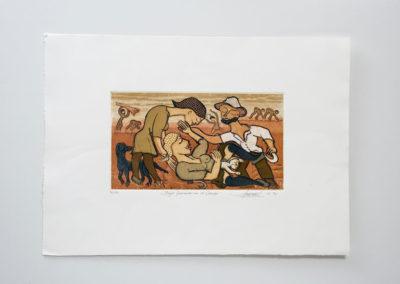 Referencia: G-35 - Titulo: Mujer pariendo en el campo - Año: 1991 - Dimensiones: 50 X 60 cms. - Técnica: Aguafuerte y aguatintas – 4 planchas