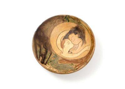 Referencia: P-35 - Titulo: Maternidad - Año: 1963 - Dimensiones: 28 cm - Técnica: Pintado-Policromado
