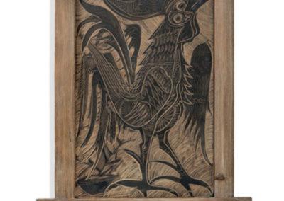 Referencia: T-001 - Titulo: Gallo de Pelea - Año: 1963 - Dimensiones: 67 x 44,5 cms - Técnica: Raspado en Negro