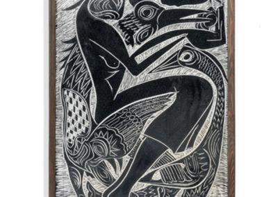 Referencia: T-037 - Titulo: Dando de Comer a laas Aves - Año: 1985 - Dimensiones: 102 X 62 cms - Técnica: Yeso Raspado en Negro