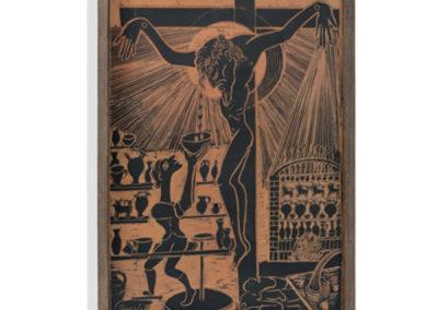 Referencia: T-047 - Titulo: El Cristo del Alfarero - Año: 1975 - Dimensiones: 74 X 50 - cms - Técnica: Raspado en Negro