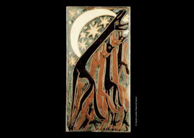 Referencia: T-068 - Titulo: Lobos Aullando en la Noche - Año: 1962 - Dimensiones: 31,5 x 16,5 cms - Técnica: Pintado - Propiedad JCCM