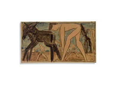 Referencia:T-178 - Titulo: La Siembra - Año: 1961 - Dimensiones: 16,5 X 30 cms - Técnica: Pintado