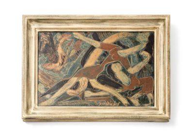 Referencia: T-V07 - Titulo: Mujeres y Cisnes - Año: 1978 - Dimensiones: 35 X 50 cms - Técnica: Pintado-Policromado